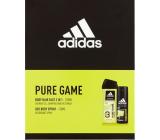 Adidas Pure Game 3v1 sprchový gel 250 ml + dezodorant sprej pre mužov 150 ml, kozmetická sada
