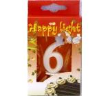 Happy light Tortová sviečka číslica 6 v krabičke