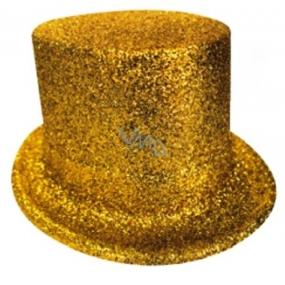 Cylinder karnevalový 25 cm zlatá