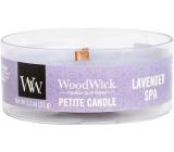 Woodwick Lavender Spa - Levanduľové kúpele vonná sviečka s dreveným knôtom petite 31 g