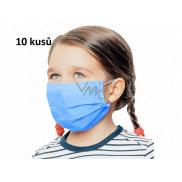Rúška 3 vrstvová ochranná zdravotné netkaná jednorazová, nízky dýchací odpor pre deti 10 kusov sýto modrá bez potlače