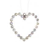 Srdce kovové závesné s kamienkami 9 cm