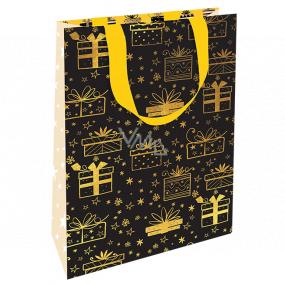Nekupto Darčeková papierová taška luxusné 11 x 18 cm Vianočné čierna zlaté darčeky WLFS 1989