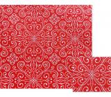 Nekupto Darčekový baliaci papier 70 x 150 cm Červený s bielymi ornamentmi