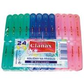 Clanax Plastové kolíčky na prádlo 24 ks / 56 mm