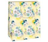 Ditipo Darčeková papierová taška 18 x 10 x 22,7 cm žltá, bielomodrá kvety QC