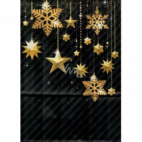 Ditipo Darčeková papierová taška EKO 22 x 10 x 29 cm čierna zlaté ozdoby