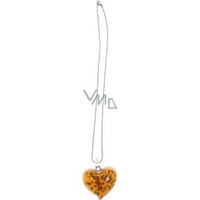 Bižutéria Náhrdelník strieborný so skleneným oranžovým srdcom 45 cm