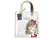 Ditipo Dievča s mašľou módnou textilná taška 35 x 38 cm