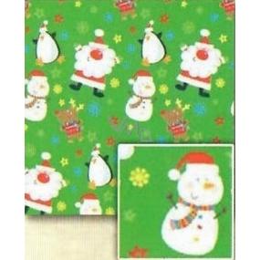 Nekupto Baliaci papier vianočné pre deti Svetlo zelený, Santa, snehuliak 0,7 x 5 m