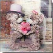 Me to You Blahoželania do obálky 3D K svadbe, Zamilovaní medvedíky s kyticou, 15,5 x 15,5 cm