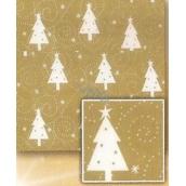 Nekupto Baliaci papier vianočný Zlatý, biele stromčeky 2 x 0,7 m