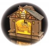 Dekorácie betlehem na postavenie 18 x 17 cm, 4 LED, teplá biela + časovač