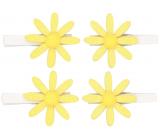 Kvietky žlté s glitrami na kolíčku 5 cm, 4 kusy v sáčku
