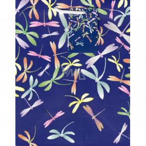 Ditipo Darčeková papierová taška stredná modrá farebné vážky 18 x 23 x 10 cm