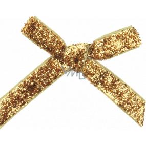 Mašľa zamatová úzka zlatá trblietavá 8 cm 12 kusov