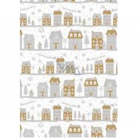 Ditipo Darčekový baliaci papier 70 x 200 cm Vianočný biely strieborno-zlaté domčeky