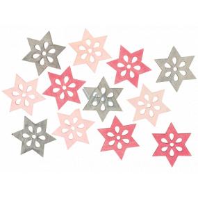 Hviezda drevená ružovo-sivá 4 cm 12 kusov