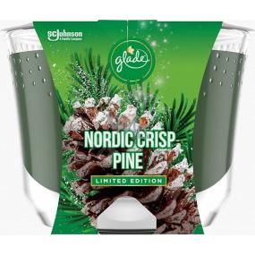 Glade by Brise Nordic Crisp Pine s vôňou borovice, borievky a imelo vonná veľká sviečka v skle, doba horenia až 52 hodín 224 g