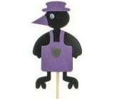Zápich vrána v zástěře fialová 7 cm + špejle 15 cm