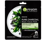 Garnier Skin Naturals Pure Charcoal Black Tissue Mask s extraktom pleťová čierna textilná maska z čierneho čaju 28 g