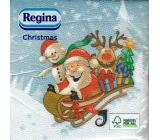 Regina Vianočné papierové obrúsky Svetlo modré, Santa na saniach 1 vrstvové 33 x 33 20 kusov
