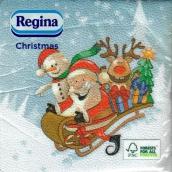 Regina Papierové obrúsky 1 vrstvové 33 x 33 cm 20 kusov Vianočný Svetlo modré, Santa na saniach
