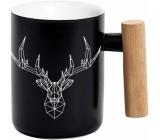 Albi Hrnček s drevenou rukoväťou Jeleň čierny 350 ml