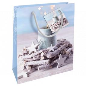 Nekupto Darčeková papierová taška 23 x 18 x 10 cm Vianočný taška veniec so sviečkou WBM 1936 40