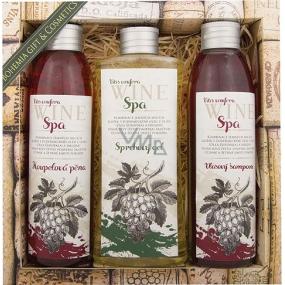 Bohemia Gifts & Cosmetics Wine Spa Vinná kosmetika Hroznový olej a extrakt z vinné révy koupelová pěna 200 ml + sprchový gel 250 ml + šampon 200 ml, kosmetická sada