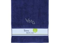 Albi Ručník Bezva brácha tmavě modrá 90 cm × 50 cm