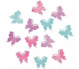 Motýle drevení fialová, zelená, ružová 4 cm 12 kusov