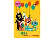 Blahoželania Y - Máš narozeniny- žlté so zvieratami 1841