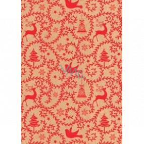 Ditipo Darčekový baliaci papier 70 x 200 cm Vianočný KRAFT červené ornamenty zvončeky