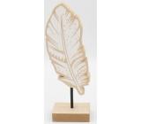 Nekupto Home Decor Dekorácie stojanček drevené pierko 20 x 4 x 6 cm