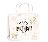 Anjel Darčeková papierová taška 23 x 18 x 10 cm narodeninová zlatá razba hviezdičky veľkosť M