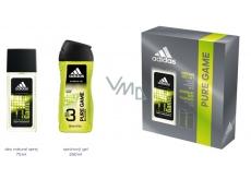 Adidas Pure Game parfumovaný deodorant sklo pre mužov 75 ml + sprchový gél 250 ml, kozmetická sada
