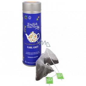 English Tea Shop Bio Čierny čaj Earl Grey 15 kusov biologicky odbúrateľných pyramidek čaju v recyklovateľné plechovej dóze 30 g