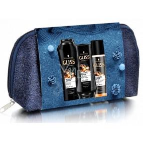 Gliss Kur Ultimate Repair šampón na vlasy 250 ml + balzam na vlasy 200 ml + expres balzam na vlasy 200 ml + kozmetická taška, kozmetická sada