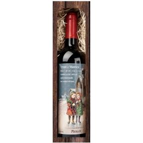 Bohemia Gifts & Cosmetics Merlot Veselé Vianoce 750 ml, darčekové vianočné červené víno