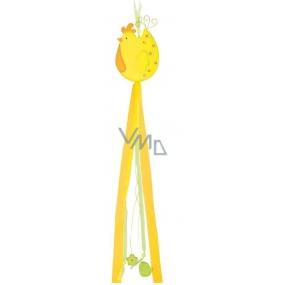 Sliepočka drevená s mašľami výška 80 cm, 2 farby, žltá 1 kus