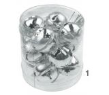 Rolničky stříbrné 3 cm 12 kusů v krabičce