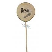 Bohemia Gifts & Cosmetics Drevený zápich k bylinkám s potlačou - Pažítka priemer kolieska je 5 - 8 cm