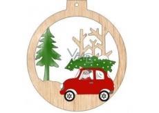 Albi Drevená vyrezávaná vianočná ozdoba Auto 9,5 x 8,5 cm