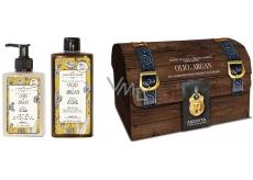 Amovita Olio di Argan Arganový olej telové mlieko 300 ml + sprchový gél 300 ml + prívesok pre šťastie, kozmetická sada
