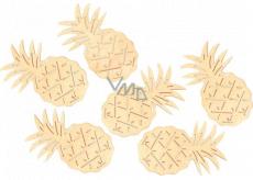 Ananás drevený žltá 6 cm, 6 kusov