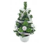 Vianočný stromček zdobený strieborný s mašľou 20 cm