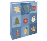 Nekupto Darčeková papierová taška 32,5 x 26 x 13 cm Vianočný modrá s vianočnými motívmi WBL 1952 40