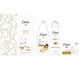 Dove Beauty For All Nourishing Care sprchový gél 250 ml + Invisible Dry antiperspirant dezodorant sprej 150 ml + Cream Oil Moroccan Argan Oil toaletné mydlo 100 g, kozmetická sada