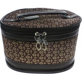 Kozmetický kufrík kytička hnedá 17 x 12 x 10 cm 70390